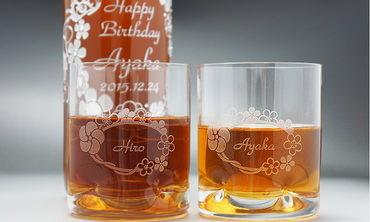名入れ梅酒とペアグラスのギフトセット