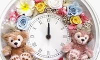 誕生日プレゼント・ダッフィーのプリザーブドフラワーの時計