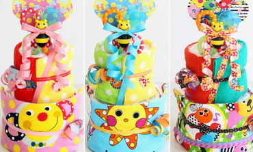 誕生日プレゼントに最適なサッシーのおむつケーキ