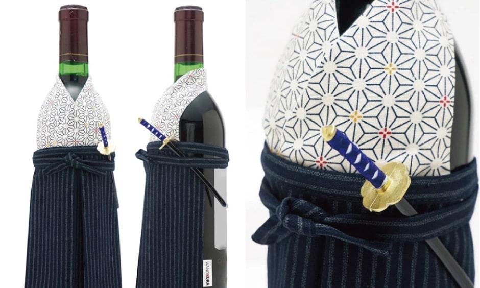 着物で「おめかし」した男性用着物・生まれ年ワイン
